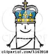 Clipart Of A Stick Man King Royalty Free Vector Illustration