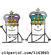 Clipart Of A Stick Man King And Queen Waving Royalty Free Vector Illustration
