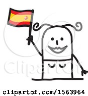 Poster, Art Print Of Happy Stick Spanish Woman Holding A Flag