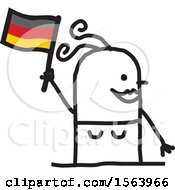 Happy Stick German Woman Holding A Flag