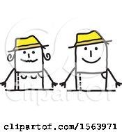 Poster, Art Print Of Happy Stick Gardener Couple