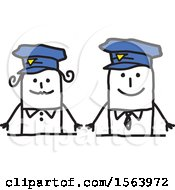 Clipart Of A Happy Stick Police Man Couple Royalty Free Vector Illustration