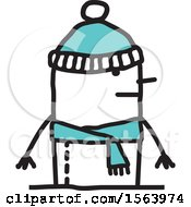 Clipart Of A Stick Man In A Winter Hat And Scarf Royalty Free Vector Illustration