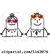 Clipart Of A Stick Couple Wearing Sunglasses Royalty Free Vector Illustration