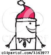 Stick Man Wearing A Santa Hat
