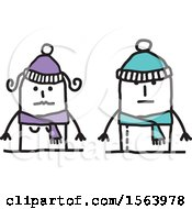 Poster, Art Print Of Stick Couple In Winter Hats And Scarves