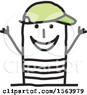 Poster, Art Print Of Happy Stick Man Wearing A Hat