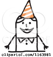 Stick Woman Wearing A Party Hat