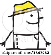 Clipart Of A Happy Stick Gardener Man Royalty Free Vector Illustration