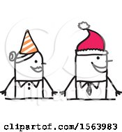 Clipart Of A Stick Woman Wearing A Party Hat And Man Wearing A Santa Hat Royalty Free Vector Illustration
