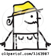Clipart Of A Happy Stick Gardener Woman Royalty Free Vector Illustration