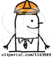 Poster, Art Print Of Happy Stick Engineer Man