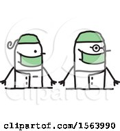 Clipart Of A Happy Stick Surgeon Couple Royalty Free Vector Illustration