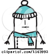 Poster, Art Print Of Stick Man In A Winter Hat And Scarf