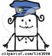 Clipart Of A Happy Stick Police Woman Royalty Free Vector Illustration