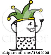 Poster, Art Print Of Happy Stick Jester Woman
