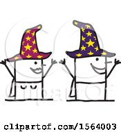 Happy Stick Wizard And Witch Couple