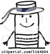 Clipart Of A Happy Stick Italian Man Royalty Free Vector Illustration