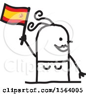 Clipart Of A Happy Stick Spanish Woman Holding A Flag Royalty Free Vector Illustration