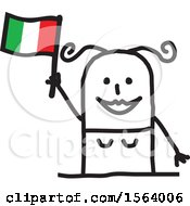 Clipart Of A Happy Stick Italian Woman Holding A Flag Royalty Free Vector Illustration