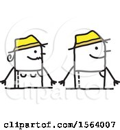 Clipart Of A Happy Stick Gardener Couple Royalty Free Vector Illustration
