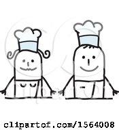 Poster, Art Print Of Happy Stick Chef Couple
