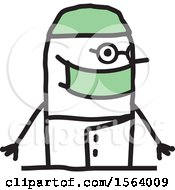 Clipart Of A Happy Stick Surgeon Man Royalty Free Vector Illustration