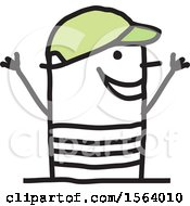 Clipart Of A Happy Stick Man Wearing A Hat Royalty Free Vector Illustration