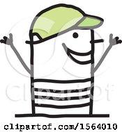 Happy Stick Man Wearing A Hat