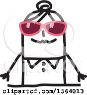 Clipart Of A Stick Woman Wearing Sunglasses Royalty Free Vector Illustration