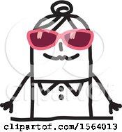Poster, Art Print Of Stick Woman Wearing Sunglasses