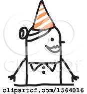 Poster, Art Print Of Stick Woman Wearing A Party Hat