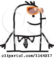 Clipart Of A Stick Man Wearing Sunglasses Royalty Free Vector Illustration