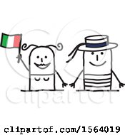 Poster, Art Print Of Happy Stick Italian Couple