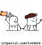 Clipart Of A Happy Stick Spanish Couple Royalty Free Vector Illustration