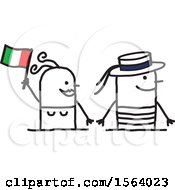 Clipart Of A Happy Stick Italian Couple Royalty Free Vector Illustration