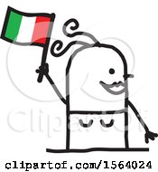 Poster, Art Print Of Happy Stick Italian Woman Holding A Flag