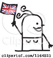 Happy Stick British Woman Holding A Flag