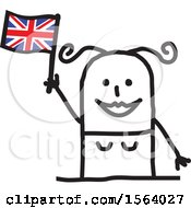 Poster, Art Print Of Happy Stick British Woman Holding A Flag