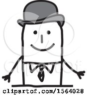 Clipart Of A Happy Stick British Man Royalty Free Vector Illustration