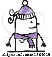 Clipart Of A Stick Woman In A Winter Hat And Scarf Royalty Free Vector Illustration