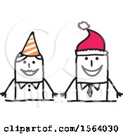 Stick Woman Wearing A Party Hat And Man Wearing A Santa Hat