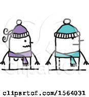 Clipart Of A Stick Couple In Winter Hats And Scarves Royalty Free Vector Illustration