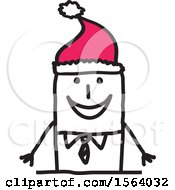 Clipart Of A Stick Man Wearing A Santa Hat Royalty Free Vector Illustration