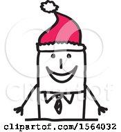 Poster, Art Print Of Stick Man Wearing A Santa Hat