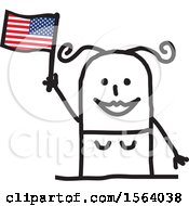 Clipart Of A Happy Stick Woman Waving An American Flag Royalty Free Vector Illustration