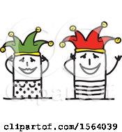 Poster, Art Print Of Happy Stick Jester Couple