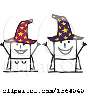 Clipart Of A Happy Stick Wizard And Witch Couple Royalty Free Vector Illustration