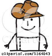 Clipart Of A Happy Stick Man Cowboy Royalty Free Vector Illustration