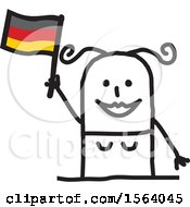 Poster, Art Print Of Happy Stick German Woman Holding A Flag